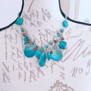 Teal Faux Suede Statement Necklace